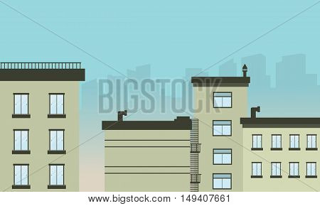Flat design city landscape illustration vetcor art