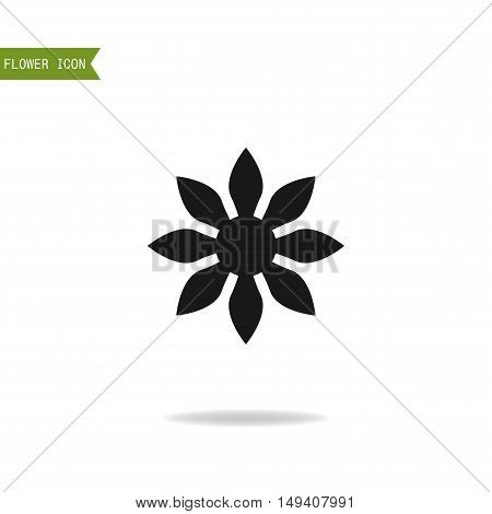 Floral flat icon, symbol. Silhouette flower isolated on white background. Logo for business. Vector illustration