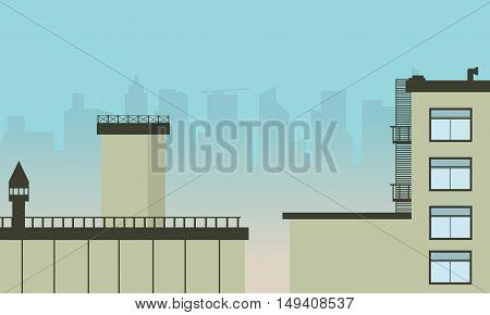 Flat design urban landscape illustration vector art