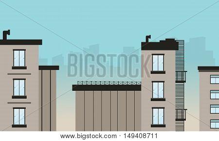 Silhouette of flat building design vector art illustration