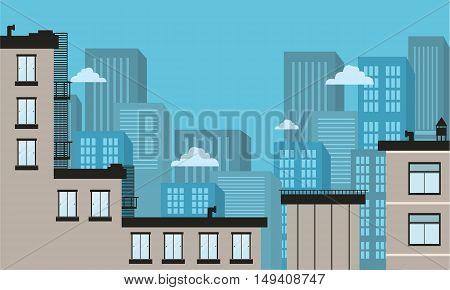 Silhouette of city landscape flat vector art illustration
