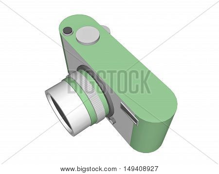 3D concept Digital camera with pastel green color isolated on white background.