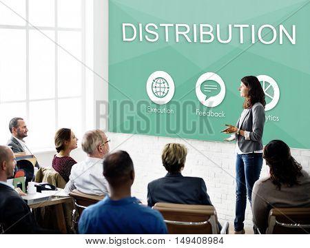 Business Management Plan Distribution Strategy Graphic Concept