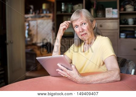 Woman Confused With Tablet Computer