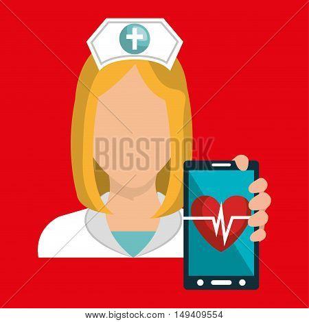 nurse smartphone care health vector illustration eps 10