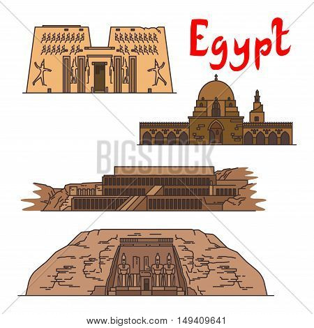 Egypt. Karnak Temple, Mosque of Ibn Tulun, Deir el-Bahari, Abu Simbel. Ancient historic landmarks, sightseeings, famous showplaces. Vector detailed icons for souvenir decoration elements