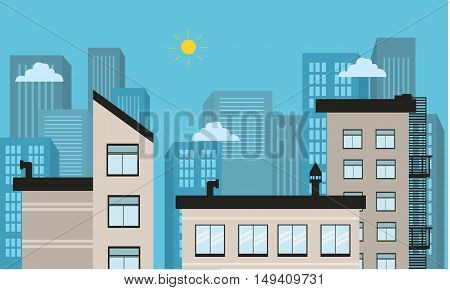City landscape vector illustration of silhouette collection