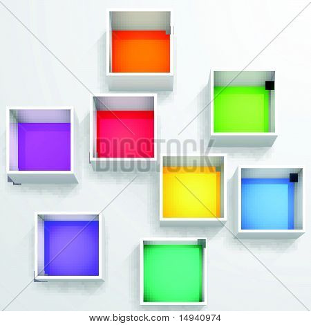 3d isolated Empty colorful bookshelf.