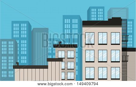 Landscape flat city design of vector illustration