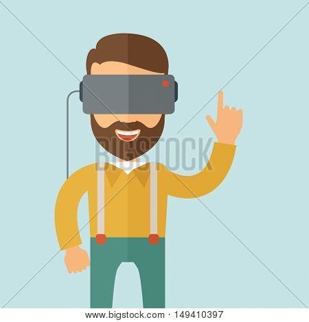 A man with virtual reality headset.  flat design illustration. Square layout.