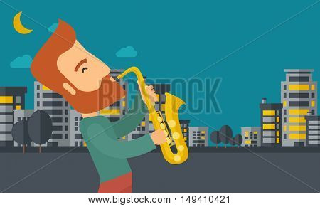 A caucasian saxophonist playing in the streets at night with moon and clouds.  flat design illustration. Horizontal layout.