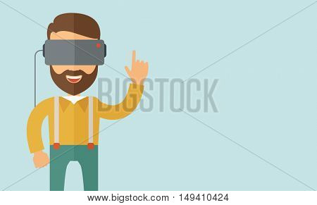 A man with isometric virtual reality headset. A Contemporary style with pastel palette, soft blue tinted background.  flat design illustration. Horizontal layout with text space in right side.