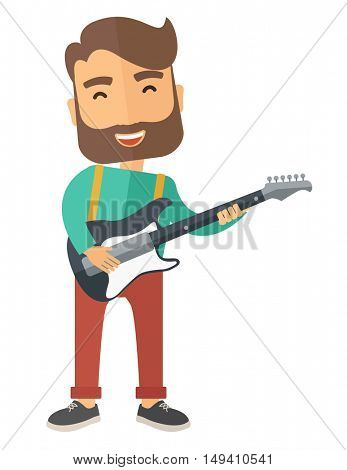 A singing musician playing electric guitar. A Contemporary style.  flat design illustration isolated white background. Vertical layout