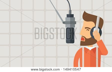 A caucasian radio DJ working in a radio station with headphone and microphone raising his voice. A Contemporary style with pastel palette, soft beige background.  flat design illustration. Horizontal