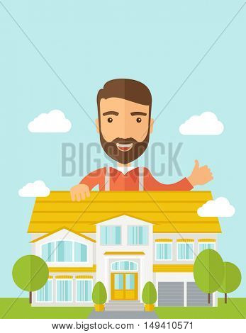 A caucasian happy for the approval of his house structure plan. A Contemporary style with pastel palette, soft blue tinted background with desaturated clouds.  flat design illustration. Vertical