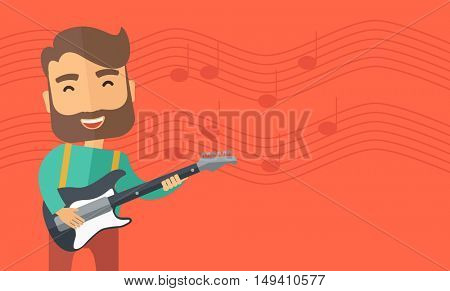 A singing musician playing electric guitar.  flat design illustration. Horizontal layout with text space in right side.