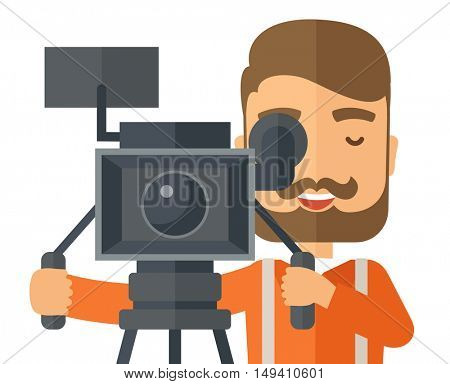 A caucasian videographer close up taking a video. A Contemporary style.  flat design illustration isolated white background. Vertical layout