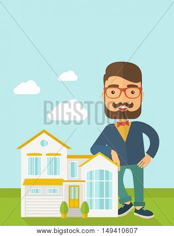 A real estate agent poses for use in advertising to sell the house. A Contemporary style with pastel palette, soft blue tinted background with desaturated clouds.  flat design illustration. Vertical