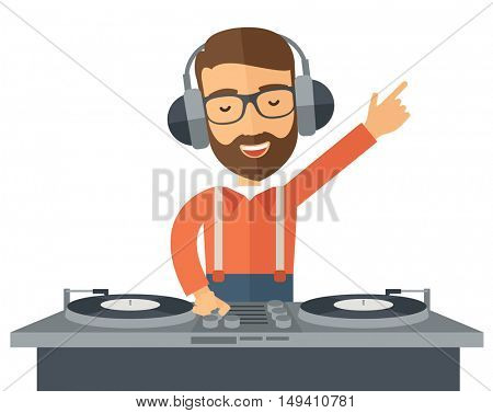 A caucasian disc jockey with headphone mixing music.  A Contemporary style.  flat design illustration isolated white background. Horizontal layout