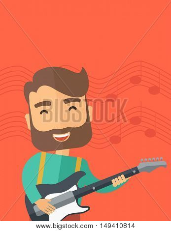 A singing musician playing electric guitar.  flat design illustrations. Vertical layout with text space on top part.