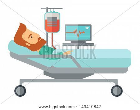 A caucasian patient in hospital bed in having a blood transfussion being monitored. A Contemporary style.  flat design illustration isolated white background. Horizontal layout.