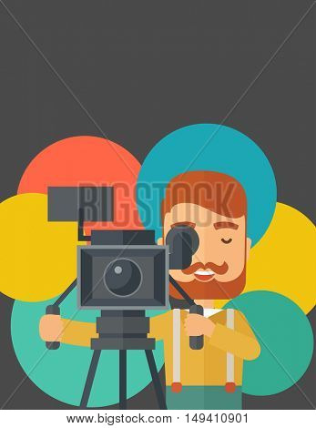 A caucasian videographer taking a video. A contemporary style with pastel palette black tinted and colorful round background.  flat design illustration. Vertical layout with txt space on top part.