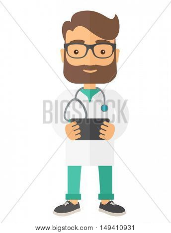 A Physician holding the result in x-ray. A Contemporary style.  flat design illustration isolated white background. Vertical layout