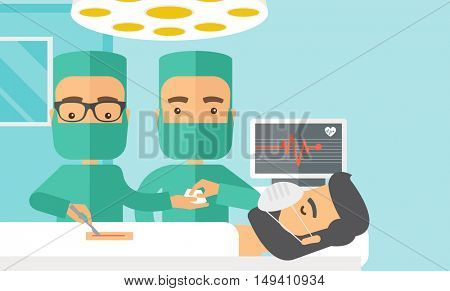 A two surgeons looking over a lying patient in an operating room. Contemporary style with pastel palette, soft blue tinted background.  flat design illustrations. Horizontal layout with text sapce on
