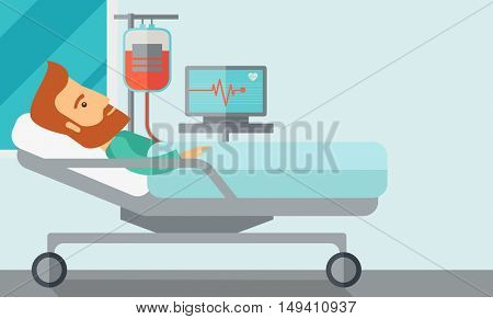A caucasian patient in hospital bed in having a blood transfussion being monitored. Contemporary style with pastel palette, soft blue tinted background.  flat design illustrations. Horizontal layout