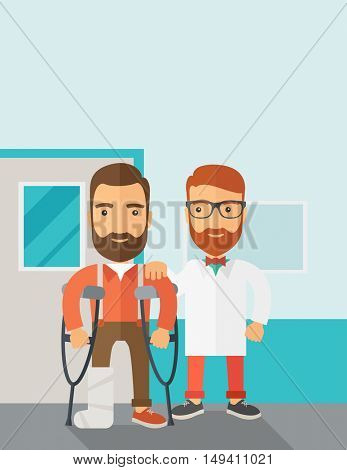 An injured man in crutches assisted by a doctor. Safety concept. Contemporary style with pastel palette, soft blue tinted background.  flat design illustrations. Vertical layout with text space on top