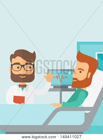 A medical caucasian patient being treated by an expert doctor in a hospital room. Contemporary style with pastel palette, soft blue tinted background.  flat design illustrations. Vertical layout with
