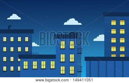 Building and light landscape vector flat illustration of silhouette