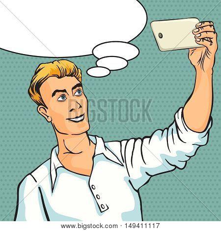 Selfie on smartphone. Retro style pop art. Vector illustration