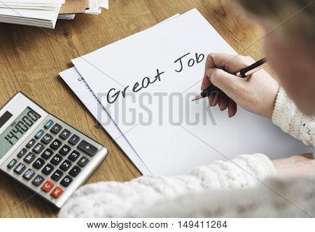 Writing Good Job Paper Concept