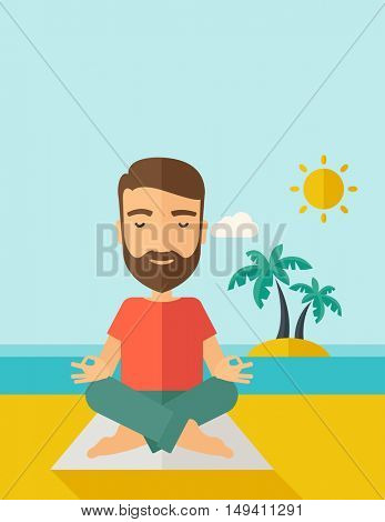 A hipster man doing yoga in the beach with his yoga pad under the sun.  Contemporary style with pastel palette, soft blue tinted background with desaturated cloud.  flat design illustrations. Vertical