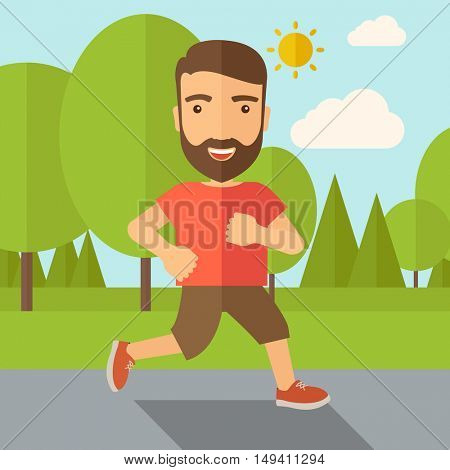 A confident hipster athlete getting ready fo a running race. Contemporary style with pastel palette, soft blue tinted background with desaturated cloud.  flat design illustrations. Square layout.