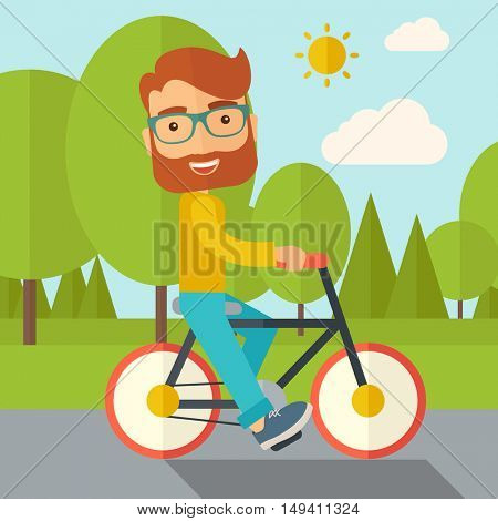 A happy caucasian riding a bicycle under the sun. Contemporary style with pastel palette, soft blue tinted background with desaturated cloud.  flat design illustrations. Square layout.