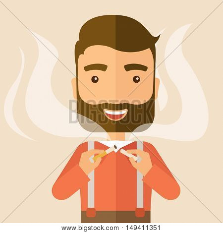 Stop smoking, human hands breaking the cigarette. Contemporary style with pastel palette, soft pink tinted background.  flat design illustrations. Square layout.