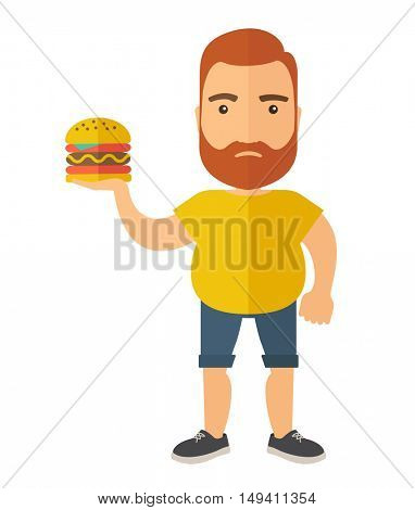A Hamburger holding by a man with fitness attire. A Contemporary style.  flat design illustration isolated white background. Vertical layout.