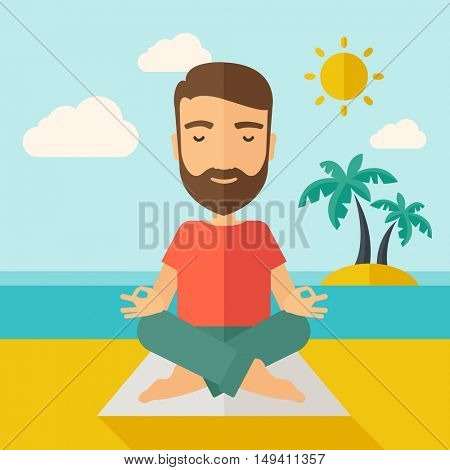 A hipster man doing yoga in the beach with his yoga pad under the sun.  Contemporary style with pastel palette, soft blue tinted background with desaturated cloud.  flat design illustrations. Square