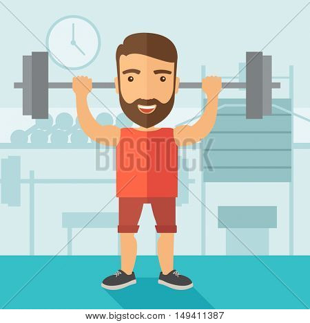 A handsome caucasian man lifting a barbell with fitness attire inside the gym. Contemporary style with pastel palette, soft blue tinted background.  flat design illustrations. Square layout.