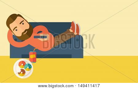 A man lying in the sofa holding a remote with three donuts and soda on the floor. Relaxing concept. A Contemporary style with pastel palette, soft beige tinted background.  flat design illustration