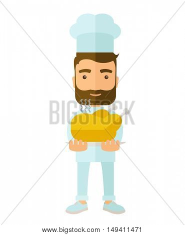 A young chef presenting a tasty cooked turkey for thanksgiving celebration. A Contemporary style with pastel palette, soft beige tinted background.  flat design illustration. Vertical layout.