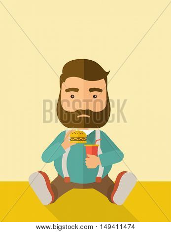 A fat man sitting on the floor while eating hamburger and soda for his drink. Food concept. A Contemporary style with pastel palette, soft beige tinted background.  flat design illustration. Vertical