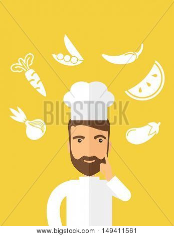 A caucasian worker trying to cook for dinner in his kitchen while looking at the cook book as his guide. Learning concept. A Contemporary style with pastel palette, Yellow tinted background.  flat