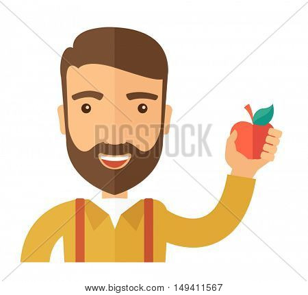 A happy caucasian businessman close up raising his arm while holding a red apple.  The concept of success and good idea. A Contemporary style.  flat design illustration isolated white background
