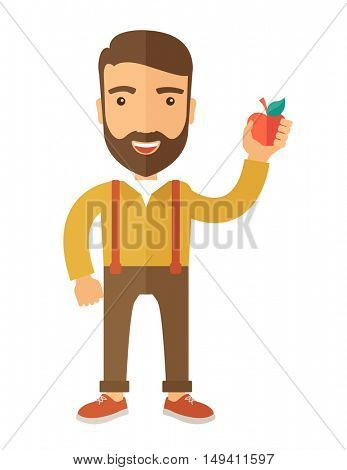 A happy caucasian businessman standing raising his arm while holding a red apple.  The concept of success and good idea. A Contemporary style.  flat design illustration isolated white background