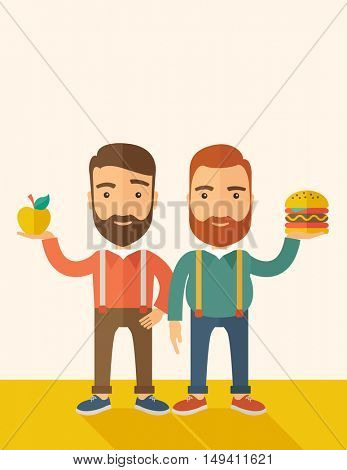 A two businessmen standing and comparing Apple to hamburger of which is healthy food. A Contemporary style with pastel palette, soft beige tinted background.  flat design illustration. Vertical layout