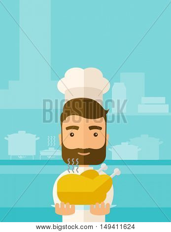 A young chef presenting a tasty cooked turkey for thanksgiving celebration. A contemporary style with pastel palette blue tinted background.  flat design illustration. Square layout.
