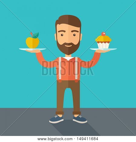 A caucasian hipster young man carries with his two hands cupcake and apple as his balance diet. A contemporary style with pastel palette dark blue tinted background.  flat design illustration. Square